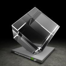 Kryształowy sześcian ze ściętym rogiem do grawerowania 3D